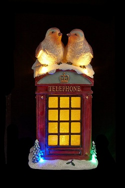 LED Telephone Box With Robins Ornament
