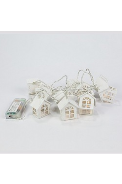 White Wooden House Fairy Lights