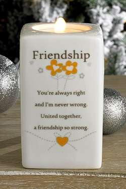 Friendship Said With Sentiment Tea Light Holder
