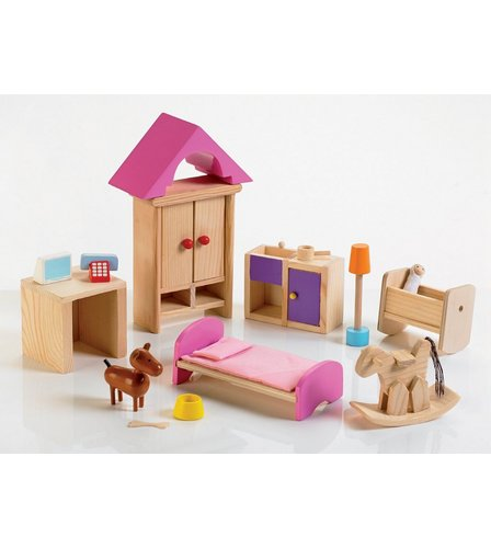 Wooden Deluxe Dolls House Furniture Set Studio