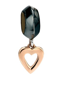 Rose Gold Heart Drop Charm