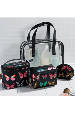 4-Piece Butterfly Wash Bag Set