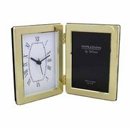 Brass Plated Clock With Photo Frame
