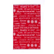 Let It Snow Red Text Jacquard Towels