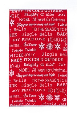 Let It Snow Red Text Jacquard Hand ...