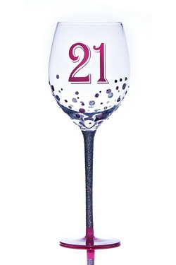 21st Sparkle Wine Glass