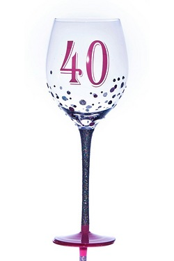 40th Sparkle Wine Glass