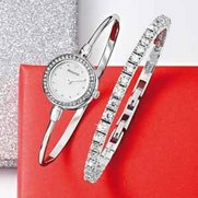 Accurist Silver Ladies Watch And Br...