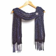 Scarf & Brooch Set - Snowflake Blue...