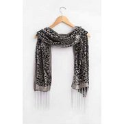Scarf & Brooch Set - Heart Grey Leo...