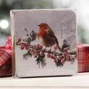 Set Of 4 Red Robin Coasters