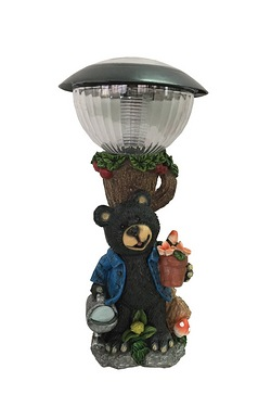 Solar Bear Lamp Post