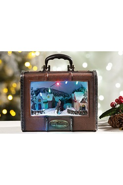 LED Christmas Suitcase Scene