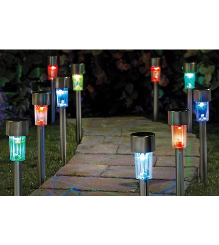 Image for Pack Of 10 Colour Changing Solar Lights  Stainless Steel from studio