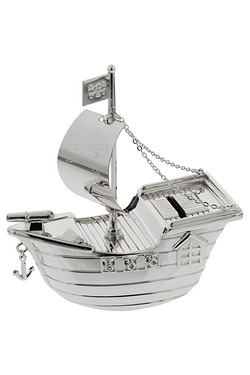 Silverplated Pirate Ship Money Box