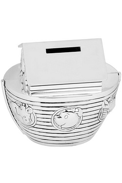 Silverplated Noah's Ark Money Box