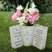 Memorial Book With Vase & Cross