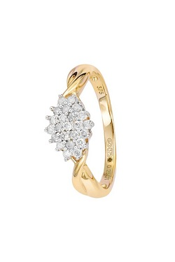 9ct Yellow Gold Cluster Diamond Ring
