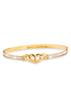 9ct Stardust Dc Double Heart Bangle