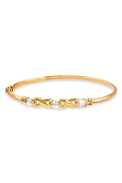 9ct Yellow Gold CZ Hugs and Kisses Bangle
