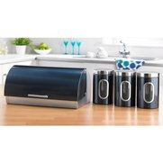 Stainless Steel Teal Bread Bin Set