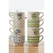 4 + 4 FREE Owl Stacking Mugs