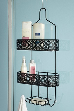 Metal Lace-Effect Shower Caddy