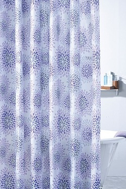 Modern Floral Shower Curtain - Damson