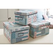 Set Of 3 Patchwork Storage Boxes