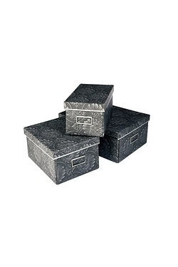 Set Of 3 Black Damask Storage Boxes