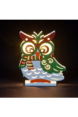 LED Wooden Owl & Scarf Light