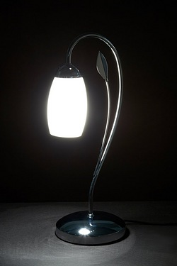 Leaf Detail Glass Shade Table Lamp
