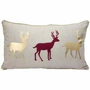 Stag Trio Metallic Printed Cushion