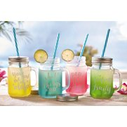 Set Of 4 Aloha Mason Jars