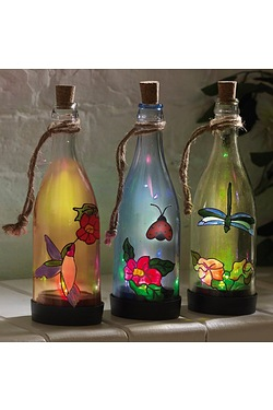 Set Of 3 Hanging Solar Bottle Lights