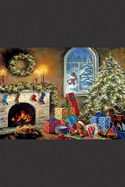 Fireplace Christmas Wall Canvas