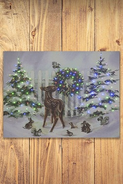 Reindeer And Trees Canvas