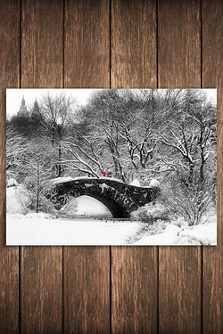 Snowy Red Umbrella On Bridge Canvas