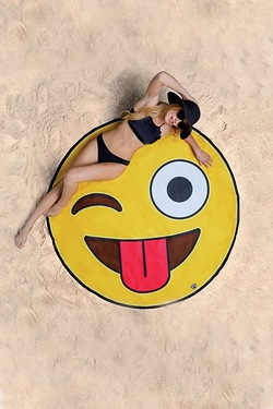 Fun Shaped Beach Towel - Emoji