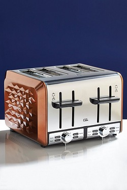 Red Metallic Diamond 4-Slice Toaster