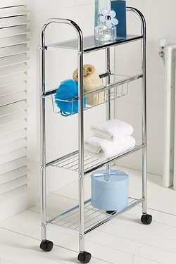 4-Tier Chrome Finish Bathroom Trolley