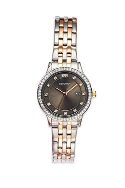 Ladies Sekonda Black & Crystal Watch