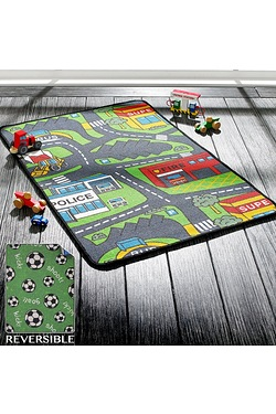 Reversable Roads And Football Rug