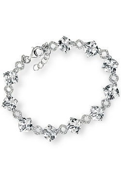 Bracelet With Clear Cushion Cut CZ And Pave CZ Detail