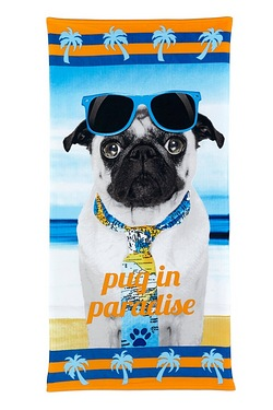 Mr Pug In Paradise Beach Towel