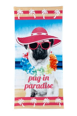 Mrs Pug In Paradise Beach Towel
