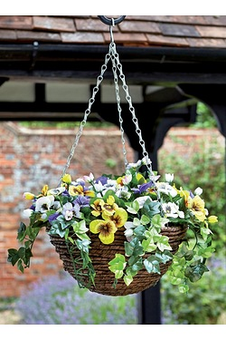 Artificial Hanging Basket - Pansy