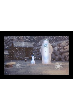 LED Snowman/Dog In Garden Canvas