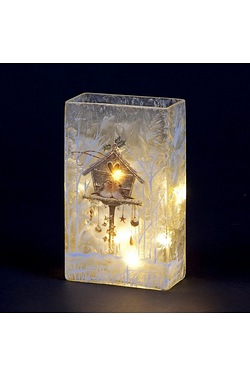 Lit Glass Square Christmas Vase