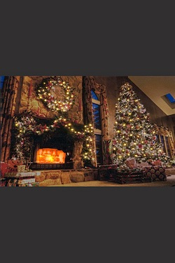 Xmas Fireplace Scene Wall Canvas